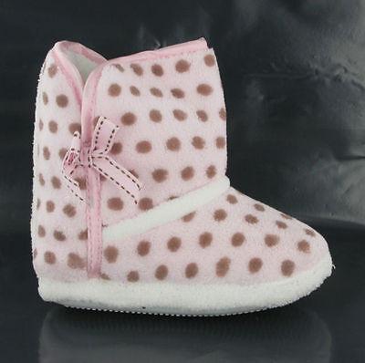Nuevas muchachas encantadoras Bebés De Piel cálida cosy Rosa tirar de Zapatillas Botines Tamaños 4-9