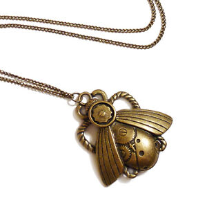 Steampunk-gothic-necklace-MECHANICAL-BEETLE-Victorian-goth-necklace-brass-choker