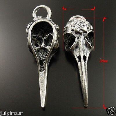 28pcs Antique Silver Tone Skull Bird Head Charms Pendant 38*13*11mm 36979
