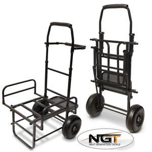 NEW NGT DYNAMIC FISHING TROLLEY CARP COARSE FOLDS FLAT TWIN WHEEL LARGE BASE