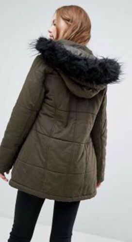 Look Quilted £50 £29 Warm 99 Jacket Hooded Faux Was Now Coat Fur Parka Khaki New ZXCq8T