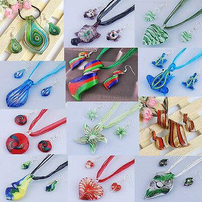 1p colorful Womens Murano Lampwork Glass Pendant Necklace Earrings Sets Fresh #5