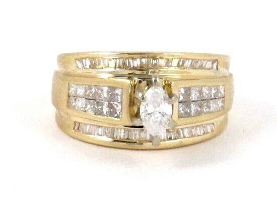 14k Yellow gold Marquise Princess & Baguette Diamond Engagement Ring 1.73ct 6.4g