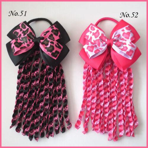 "36 BLESSING Good Girl 4.5/"" Double Angel Hairbow Ribbon Plait Ponytail Elastic"