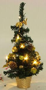 Künstlicher Weihnachtsbaum Mit Beleuchtung 45 Cm.Details Zu Mini Weihnachtsbaum Tannenbaum Christbaum 45 Cm Gold Geschmückt Mit Beleuchtung