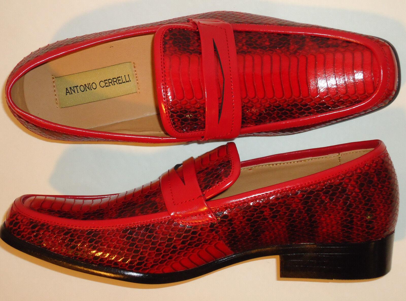 Antonio cerrelli 6494 Para Hombre Rojo Y en Negro Imitación Serpiente en Y Relieve SLIP ON DRESS Mocasines e0323b