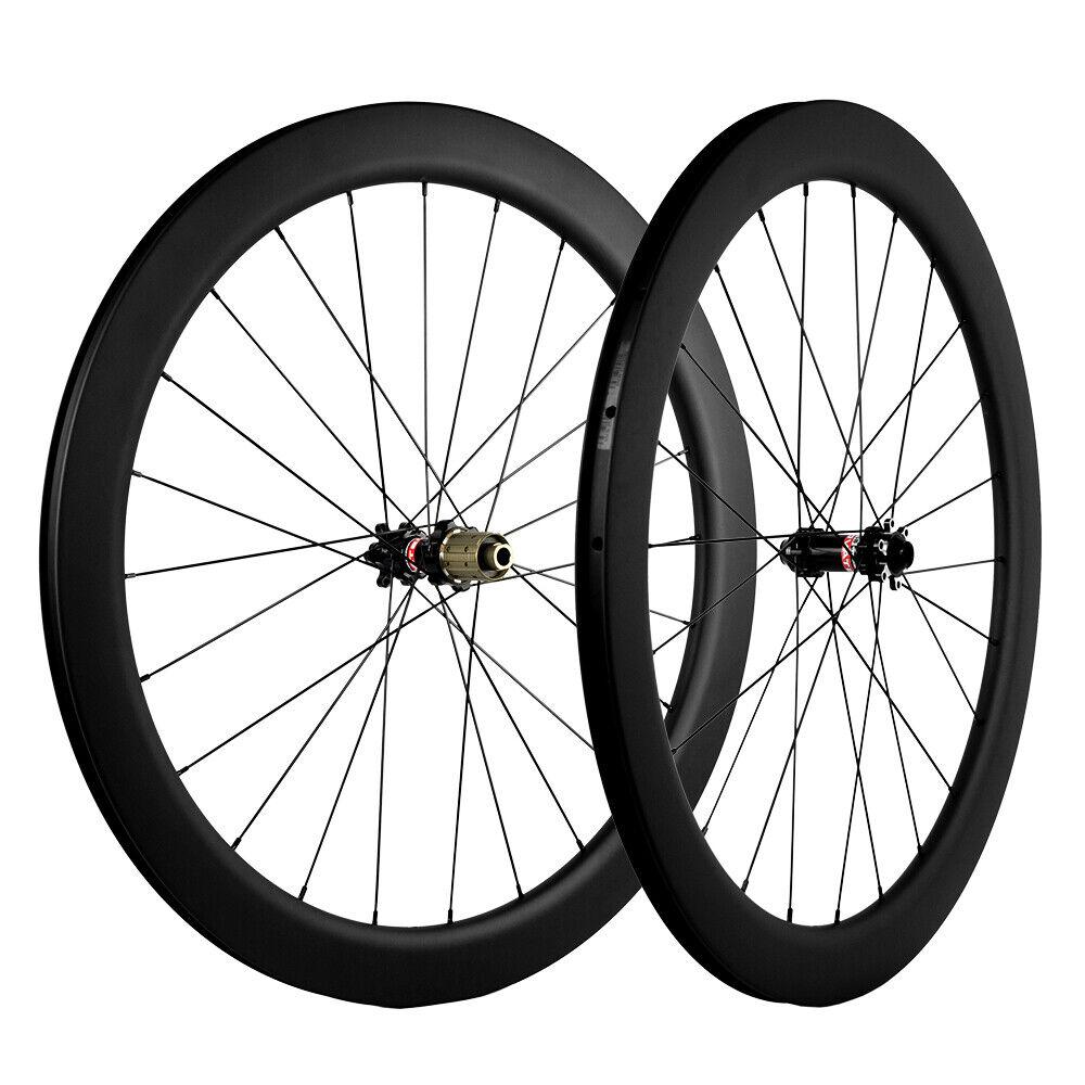 Disc Brake Carbon Wheelset Road Bike 55mm Depth 25mm 12mm Thru Axle 9mm Skewer