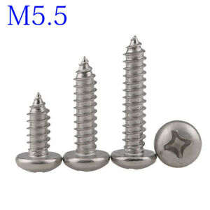 M5 316 Stainless Steel A4 Phillips Cross Recessed PAN Head Self Tapping Screws