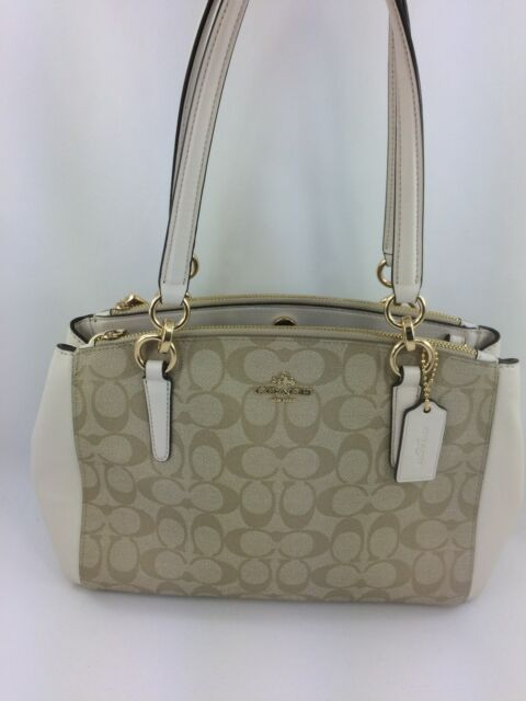 88bf6937 Coach Christie Signature Logo Small Shoulder Bag Carryall Tote 58291