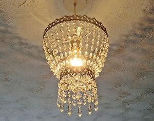 VINTAGE RETRO LOOK CHANDELIER LIGHT SHADE CHROME GLASS DROPS ANTIQUE ...