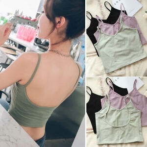 V-Neck-Stretchy-Fitted-Built-in-Bra-Backless-Shirt-Tank-Top-Cami-Crop-Top