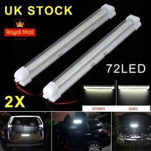 2x 12v 72 Led Car Interior White Strip Lights Bar Lamp Van Caravan