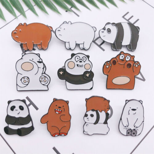 10pcs We Bare Bears Ice Bear Grizzly Panda Badge Enamel Pin Brooches Gifts