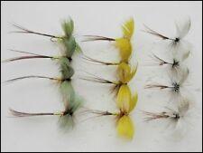 Drake Mayflies, 12 Pack Coloured Drake Mayfly Fishing Flies, Green, Grey, Yellow