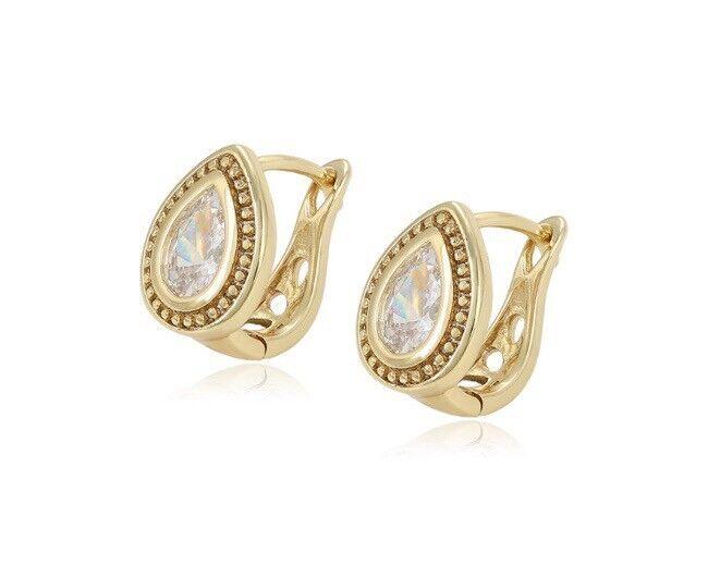14ct Gold Filled Gf Ladies Tear Drop Vintage Cz 13mm Hoop Earrings