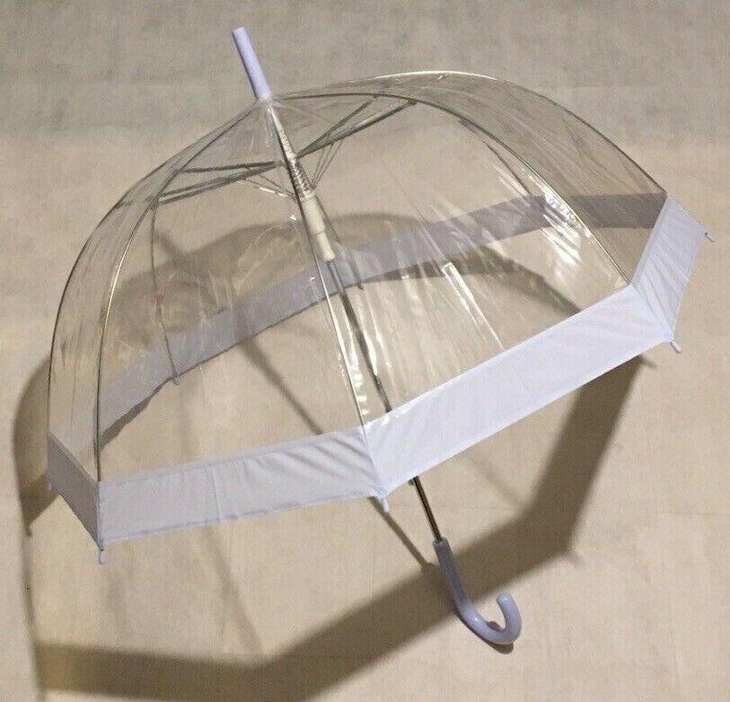 Umbrellas Dome Brollies Ladies Automatic Opening Lilac Trim, Tip & Crook Handle