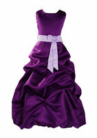 Purple And Lilac Sash Bridesmaid Party Flower Girl Dress 12-13 Years