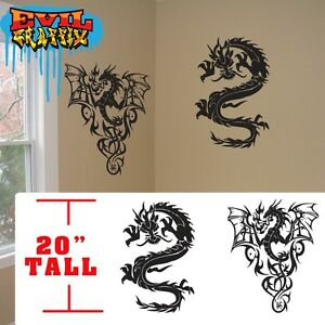 Dragon wall stickers,duel dragons Martial Arts decal symbol, dragon sticker