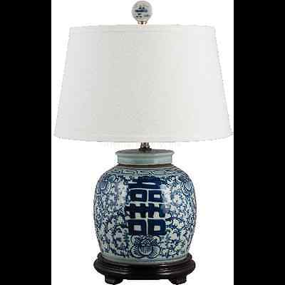 CLASSIC BLUE AND WHITE PORCELAIN  ORIENTAL GINGER JAR LAMP HAPPINESS