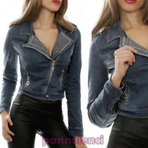 Clous Avec 9620 Femme Jeans Veste Sweat Éclair Moulant Fermature Strass shirt wgWWnpBq