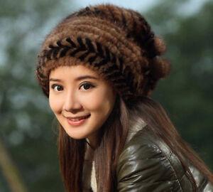 damer varm vintage ny ægte strikket mink 2colors ægte 100 pels hættetrøje hat a0nSxT