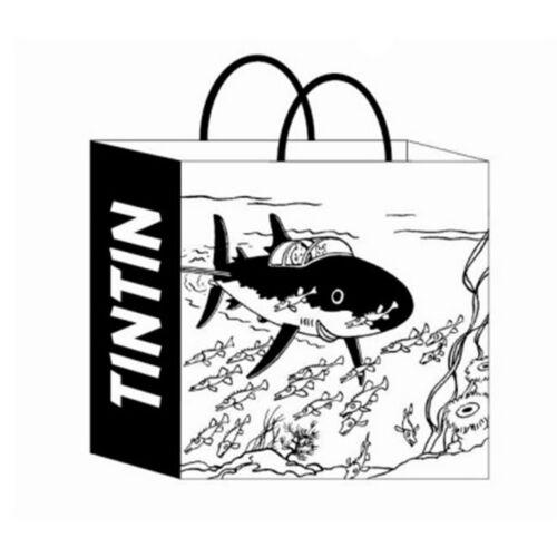 Bolsa en papel reciclado Tintín y Milú el Tiburón Submarino 44x42x20cm 04243