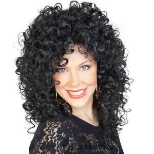 Cher Wig 80s Music Star Black Curly Perm Womens Ladies Fancy Dress