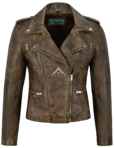 Donna Giacca in Pelle Marrone sporco Fashion Designer Stile Biker Moto 7113