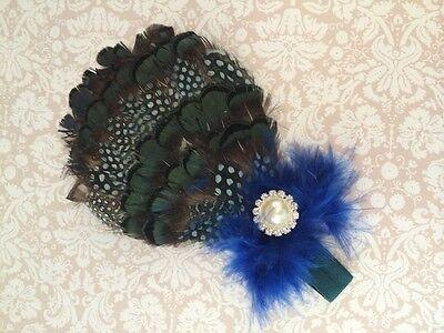 Peacock Feather Bling Baby Headband Newborn Headband