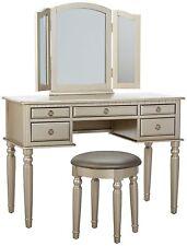 Elegant Vanity Table Makeup Mirror Set Stool Chair Bedroom Decor Wood  Furniture