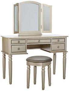 Image Is Loading Elegant Vanity Table Makeup Mirror Set Stool Chair