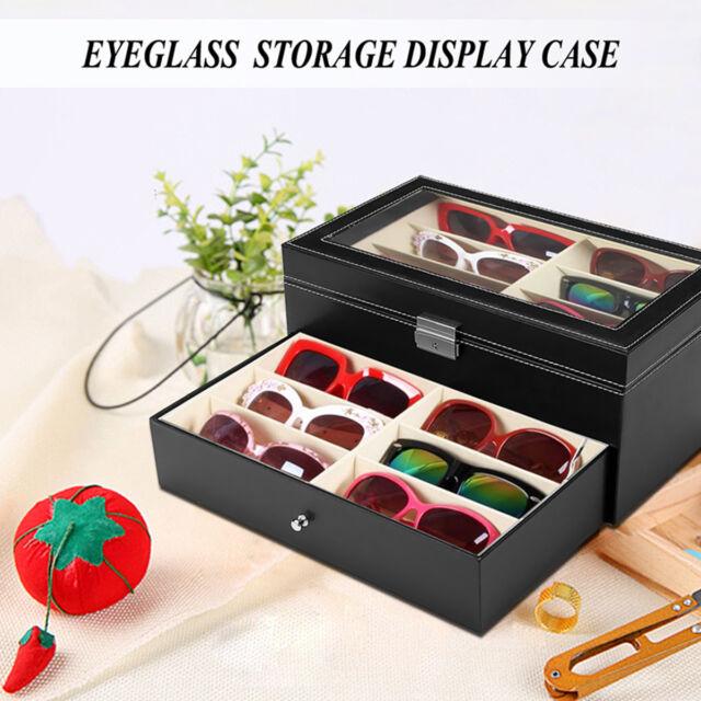 Beau 12 Slot Black Oversized Eyeglass Sunglass Glasses Organizer Storage Display  Case For Sale Online | EBay