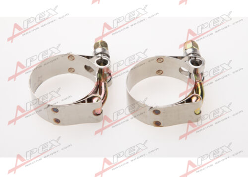 """2PCS 1/"""" inch Turbo Pipe Hose Coupler T-bolt Clamp Stainless Steel 31-36mm"""