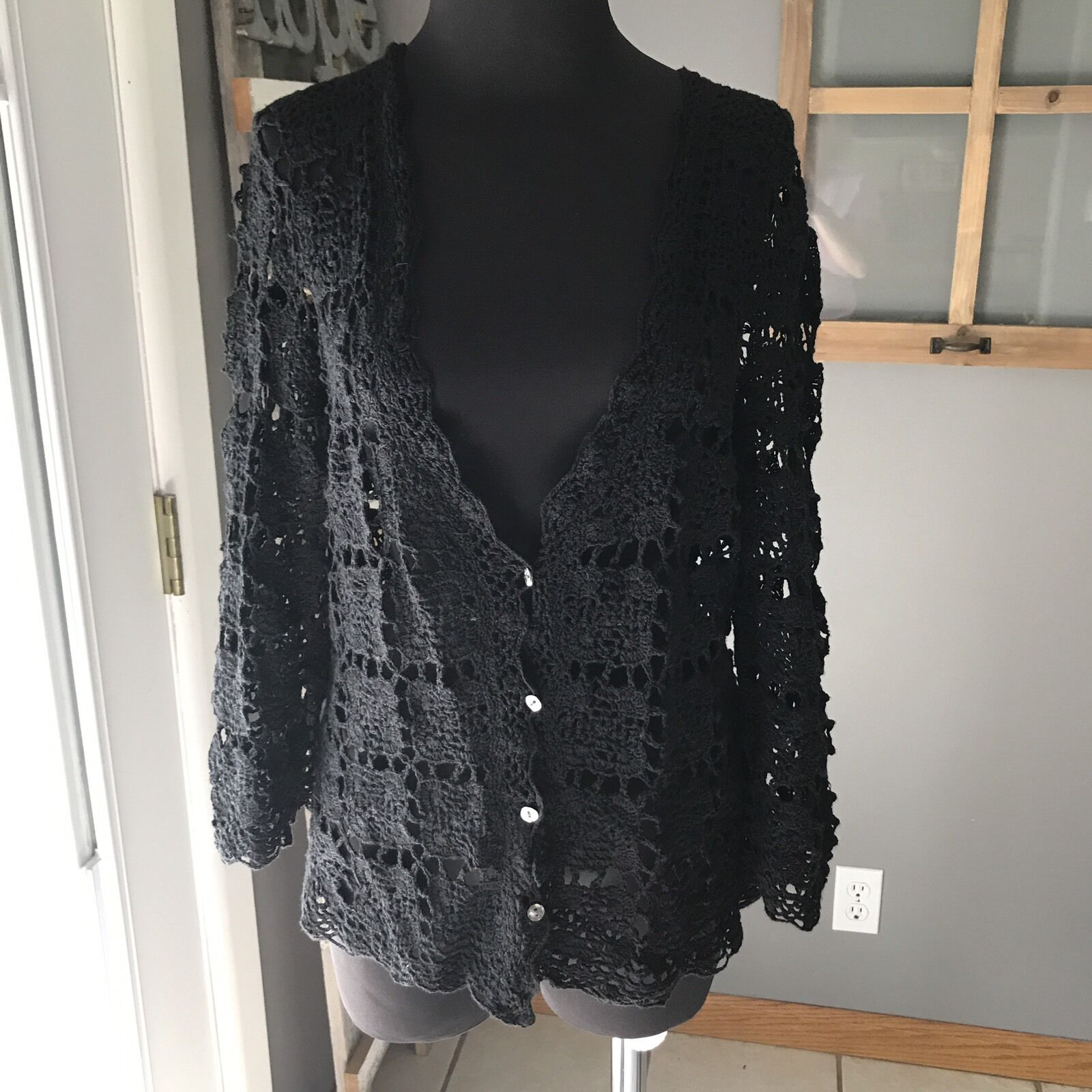 J.Jill Hand Crochet Black Linen Cotton Long Sleeve Button Up ...