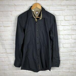 Vintage-Karman-western-Rodeo-Rockabilly-shirt-black-Pearl-Snap-Buttons-Size-L