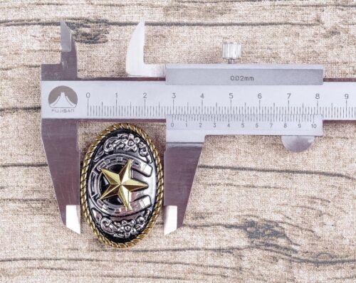 5PCS 45*30mm Western Texas Gold Silver Horse Star Saddles Leathercraft CONCHOS
