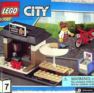 NO BOX Chain 60097 City Square NEW LEGO COFFEE SHOP with Minifigs /& Bike