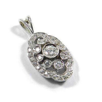 Edler 0.82 ct Diamant Anhänger mit Brillanten in 750 / 18 K  Weißgold Pendant