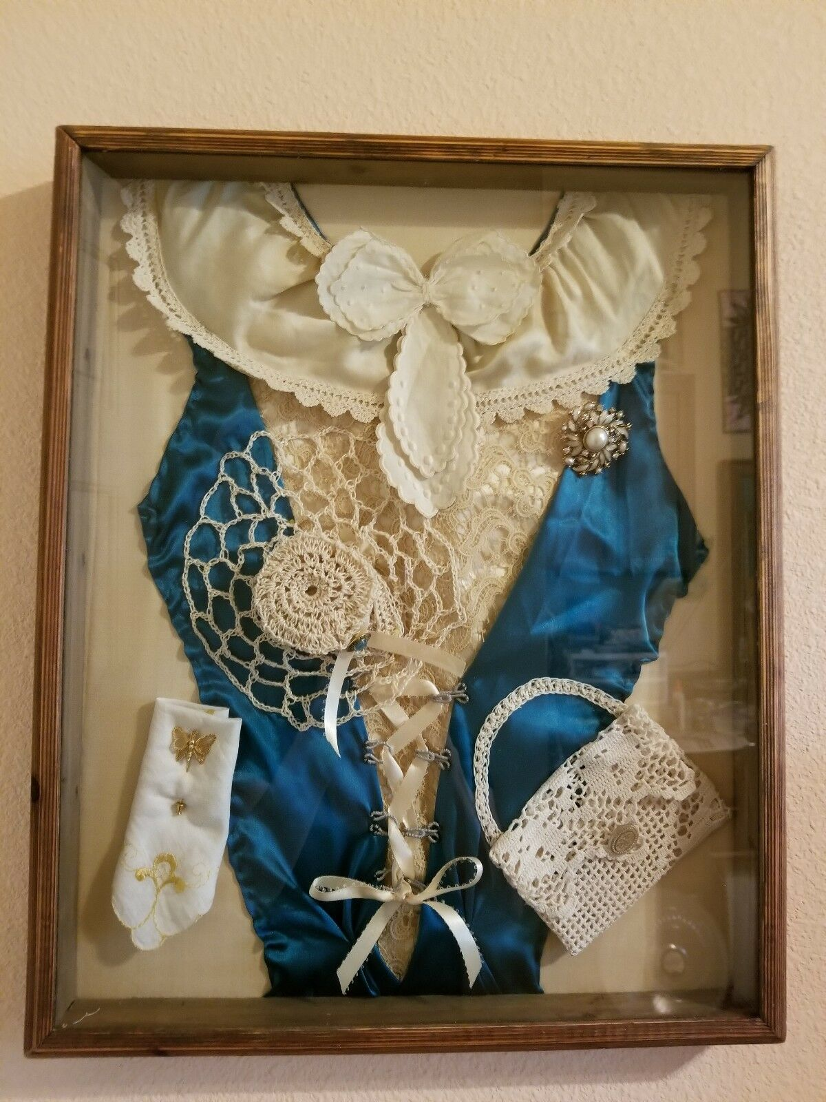 VINTAGE SHADOW BOX FRAMED ART Victorian Dress and Vintage Broach