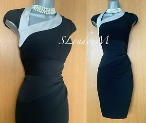 Karen-Millen-Reino-Unido-10-Negro-Plata-Escote-Asimetrico-Espalda-recorte-Coctel-Vestido