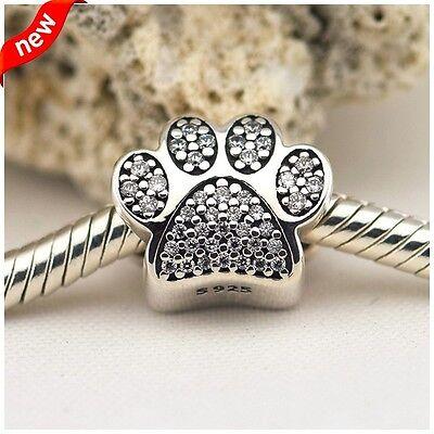 GENUINE 925 Silver Crystal Pave Dog Paw Pet Charm Fits European Brand bracelet