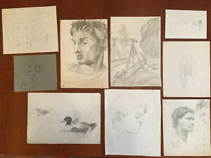 Lot-of-9-Vintage-Pencil-Drawings-by-Various-Artists-Estate-Find-Portrait
