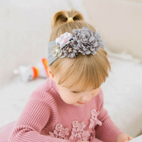 Kids Headband Pearl Floral Girl Elastic Hairband Photography Hair Accessories