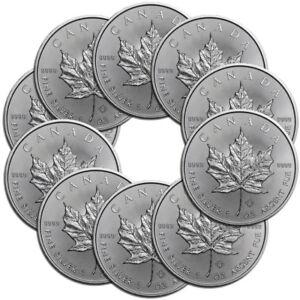 10x-1-oz-Silber-Maple-Leaf-2019-5-Dollar-Kanada-Stempelglanz-Silbermuenze-999-9