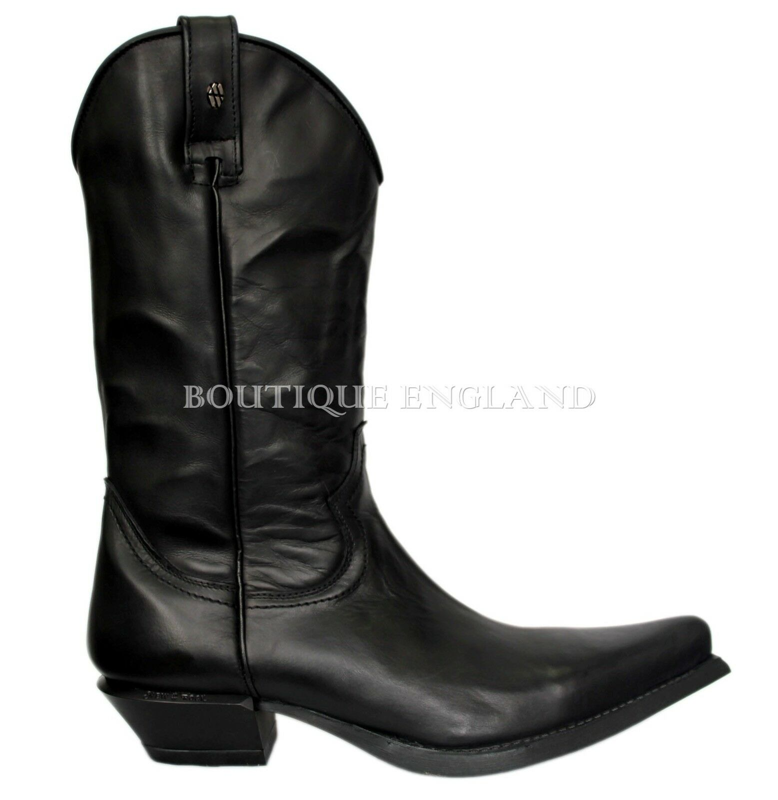 NEWROCK New Rock 7800 Black Plain Real Leather Cowboy Goth Biker Rock Boots