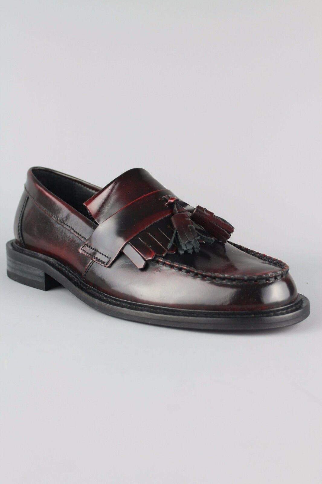 Ikon Selecta Ik3235  Mens schuhe rot Polished Leather Mocassin Tassel Loafers