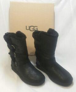 2fe36b17506 Details about UGG Australia Becket Black Leather Sheepskin Boot 1005380  Moto Buckle Women sz 6