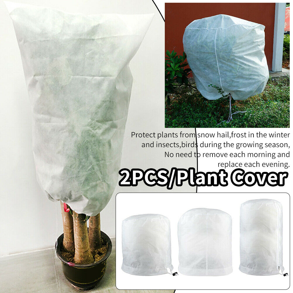 2pcs/pack With Drawstring White For Frost Blanket Plant Cover Freeze Protection