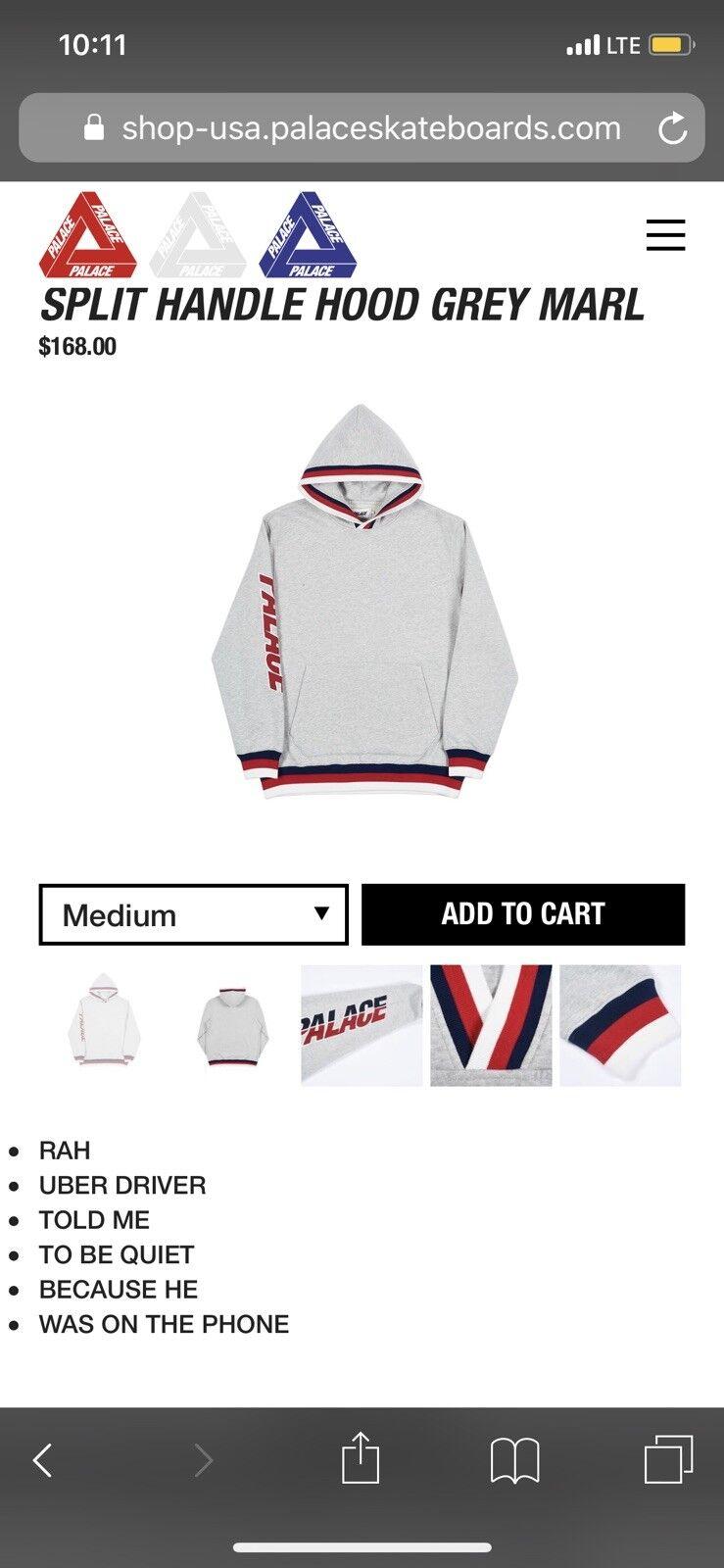 Palace Grau hoodie Größe medium