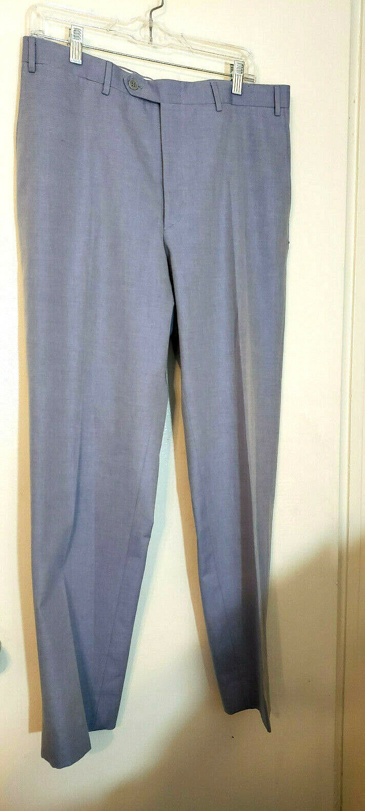 Canali Mens casual Pants 35x33 light bluee flat front solid  100% Cotton   NWOT